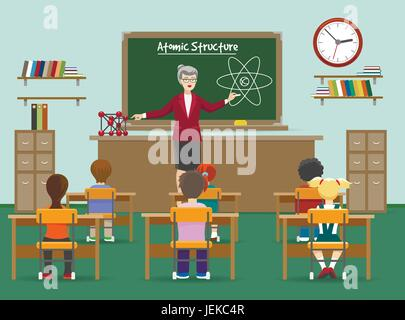 Physics lesson. Female teachers in classroom with kids in front of blackboard vector illustration - Stock Photo