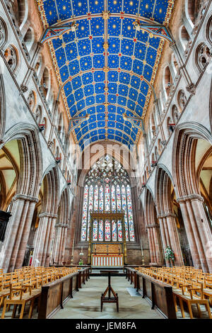 Main Nave (High Altar and East Window in background), Carlisle Cathedral (The Cathedral Church of The Holy & Undivided - Stock Photo