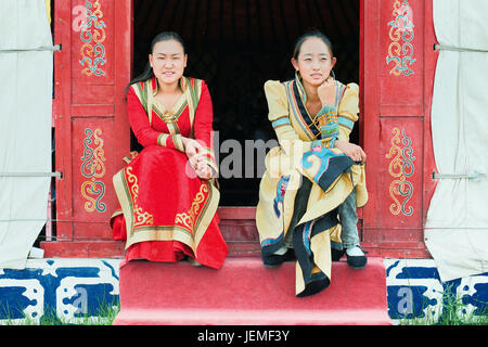 Traditional dressed Mongolian girls. Zhangjiakou is a prefecture-level city in Hebei province, bordering Beijing - Stock Photo