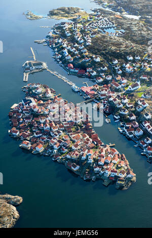 Aerial view of buildings at sea - Stock Photo