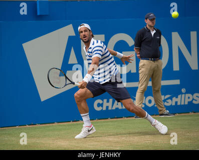 25th June 2017. Mens singles finals match at the 2017 Aegon Championships, The Queen's Club, London - Stock Photo