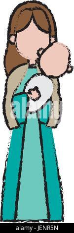 virgin mary holding baby jesus catholic image - Stock Photo