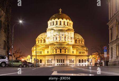 Alexander Nevski Cathedral, night view, Sofia, Bulgaria - Stock Photo