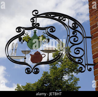 Germany, Brandenburg, Potsdam, Dutch fourth, wall of a house, inn sign, town, town fourth, brick building, architectural - Stock Photo