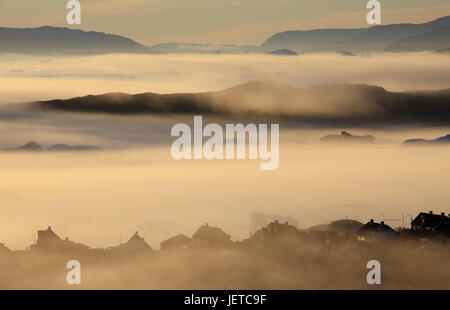 Greenland, Disco Bay, Ilulissat, fjord, fog, timber houses, view, Western Greenland, shore, coast, outside, deserted, - Stock Photo