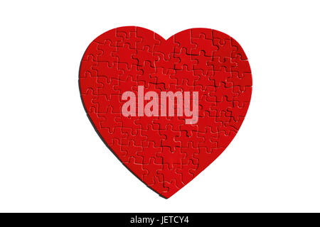 Jigsaw puzzle, heart form, red, completely, - Stock Photo