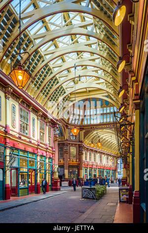 Leadenhall Market, London, UK - Stock Photo