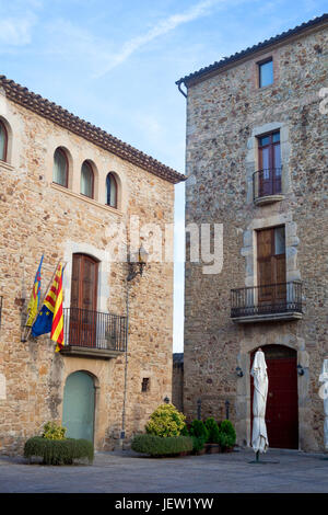 View of city council of Sant Pere de Pals in Catalonia, Spain. - Stock Photo