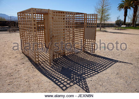Former outdoor jail cells at the historic Kelso Train Station in Mojave National Preserve, California. - Stock Photo