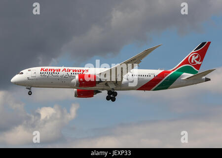 A Kenyan Airways Boeing 787 lands at London Heathrow Airport - Stock Photo