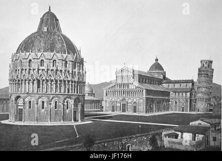 Historical photo of Pisa, View of the Piazza dei Miracoli, leaning Tower of Pisa and Baptistry, Tuscany, Italy, - Stock Photo