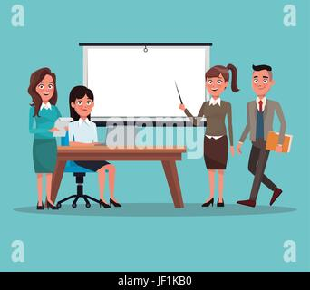 color background teamwork business people in presentation - Stock Photo