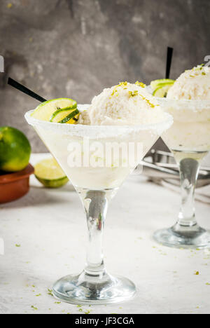 Refreshing summer alcoholic cocktail floating margarita. With tonic and salted lime ice cream with zest. With a - Stock Photo