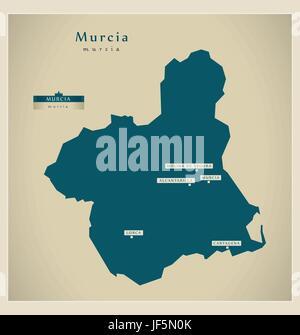 modern map - murcia es - Stock Photo