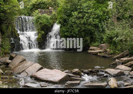 'Hidden Waterfall' in Penllergare Valley Woods, Swansea, Wales - Stock Photo