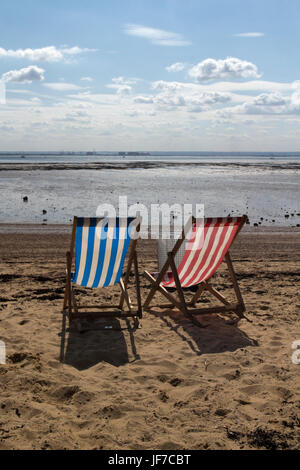 Colourful deckchairs on Three Shells Beach, Southend-on-Sea,  Essex, England - Stock Photo