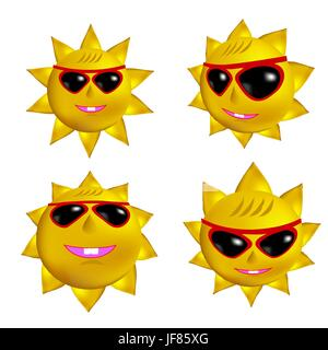Set of Sun Icons Isolated on White Background - Stock Photo