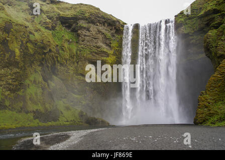 Waterfall in Iceland - Stock Photo