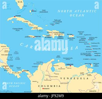 Caribbean Political Map - Stock Photo