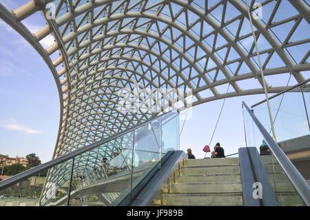 Peace bridge in Tbilisi, Georgia - Stock Photo