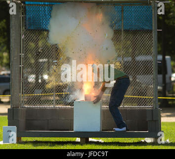 Mannequins are used to demonstrate the devastating, and often fatal, power of illegal fireworks during a press event - Stock Photo