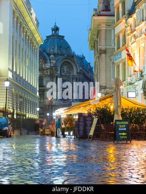 Bucharest Old Town street, Romania - Stock Photo