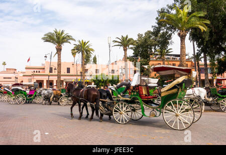 Marrakech, Morocco - May 04, 2017: A coachman is relaxing on his horse-drawn carriage on the Jemaa el-Fnaa square - Stock Photo