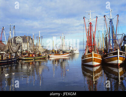 Crab cutters in the harbour of Neuharlingersiel, East Friesland, North Germany, Germany - Stock Photo