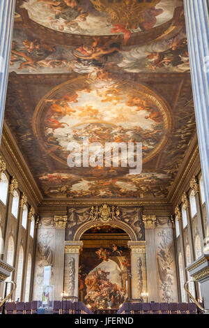 England, London, Greenwich, Old Royal Naval College, The Painted Hall - Stock Photo