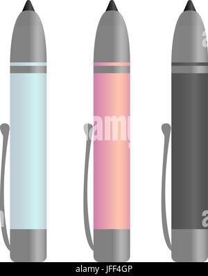 Colored plastic pens. Vector - Stock Photo