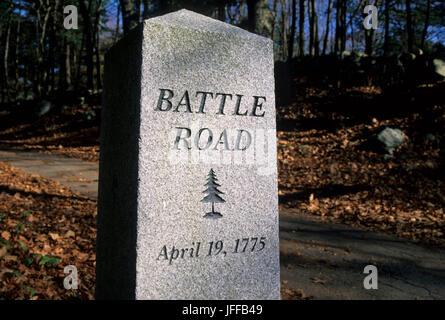 Battle Road marker, Minute Man National Historical Park, Massachusetts - Stock Photo