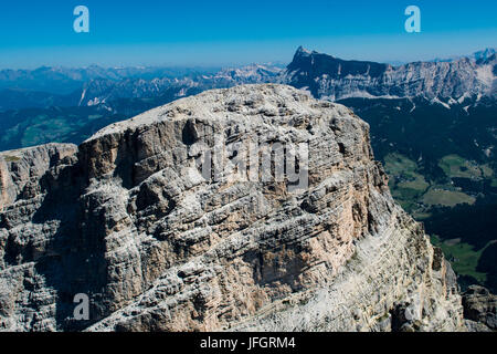 Sassongher, the Dolomites, wall bars, Kreuzkofel, aerial picture, high mountains, Corvara, South Tirol, Italy - Stock Photo