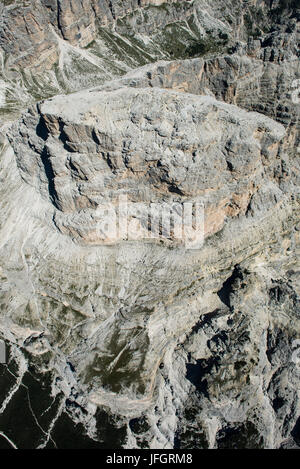Sassongher, the Dolomites, wall bars, aerial picture, high mountains, Corvara, South Tirol, Italy - Stock Photo