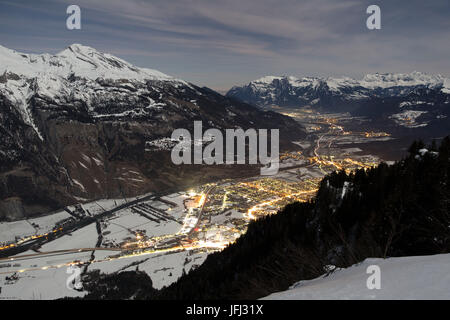 November night in the Churer Rhine Valley, Switzerland - Stock Photo