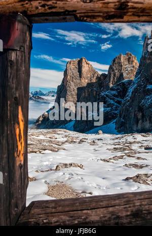 Dolomites, Pale di San Martino from the Volpi al Mulaz hutte, Trentino Alto Adige, Italy - Stock Photo