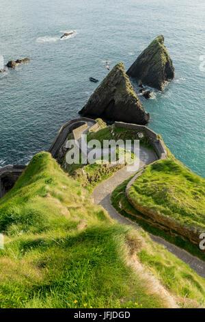 Road to Dunquin Pier, Dunquin, Dingle Peninsula, Co, Kerry, Ireland, Europe, - Stock Photo