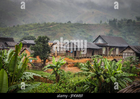 Small village in the Madagascar rainforest - Stock Photo