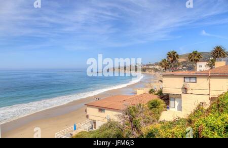High tide on Main Beach in Laguna Beach - Stock Photo