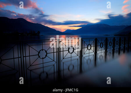Sunset on Sorico, river Mera, Lake Como, Lombardy, Italy - Stock Photo