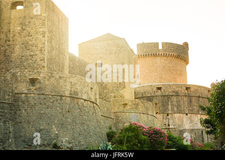 Minceta Tower and Dubrovnik medieval old town city walls in Croatia - Stock Photo
