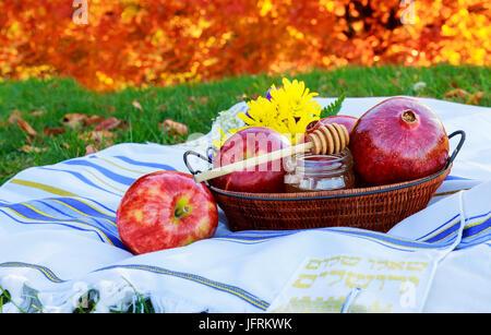 Honey apples pomegranate Jewish holidays Traditional food of Jewish new Year - Stock Photo