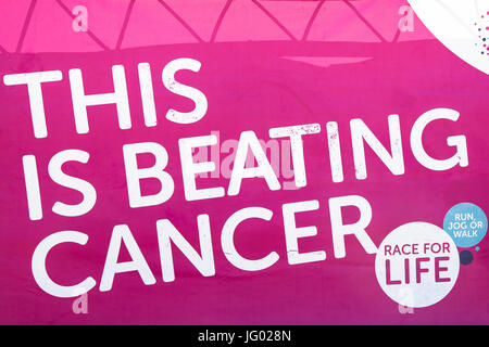 Southampton, UK 02nd July, 2017 Race for Life banner. This annual race is run by women and children to raise money - Stock Photo