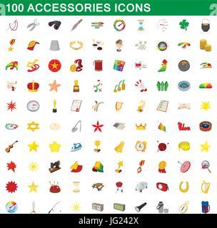 100 accessories icons set, cartoon style - Stock Photo