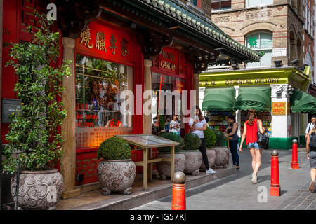 A Chinese Restaurant and Supermarket, Gerrard Street, Chinatown, London, UK - Stock Photo