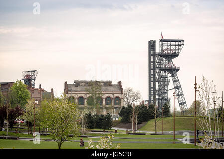 Two mining shaft in the city center of industrial Katowice, Poland, Europe - Stock Photo