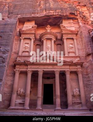 Famous tomb Al-Khazneh or Treasury in Petra - Stock Photo