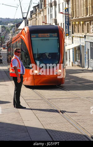 Tram in le Mans town in France - Stock Photo