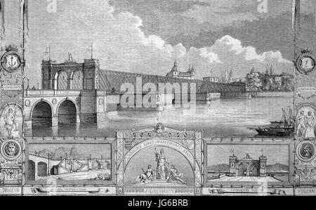Digital improved:, the new bridge crossing river Rhein, rhine, between Mannheim and Ludwigshafen, Germany, illustration - Stock Photo