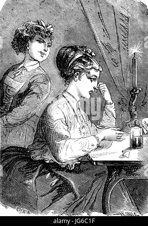 Digital improved:, Medicine, taking medication, A foul-smelling powder, illustration from the 19th century - Stock Photo