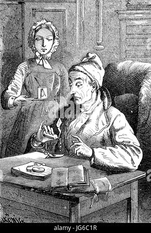 Digital improved:, Medicine, taking medication, faithfully and conscientiously, illustration from the 19th century - Stock Photo